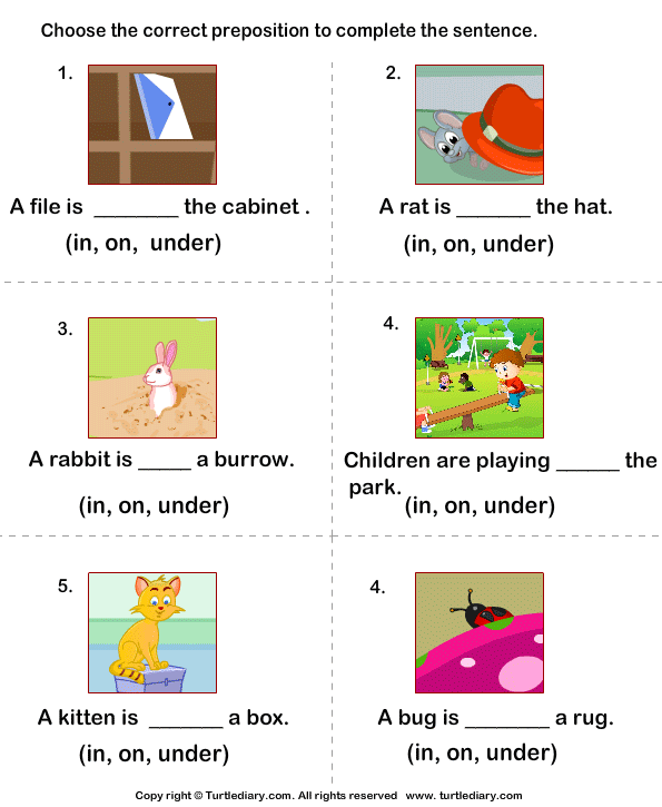 kindergarten preposition worksheets MEMEs